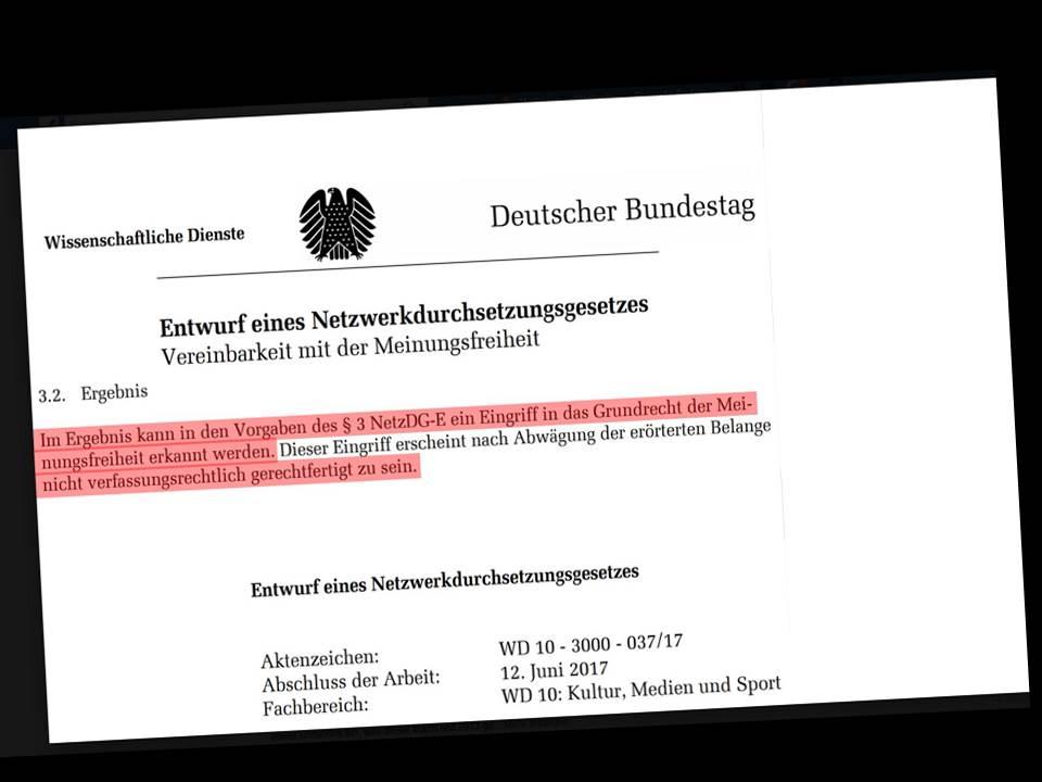 Wissenschaftlicher Dienst des Bundestages: Netzwerkdurchsuchungsgesetz verfassungswidrig